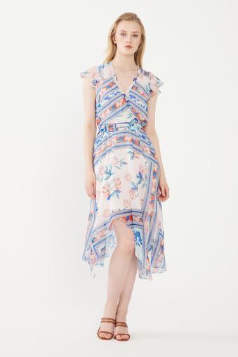 Turkuaz Kruvaze Elbise
