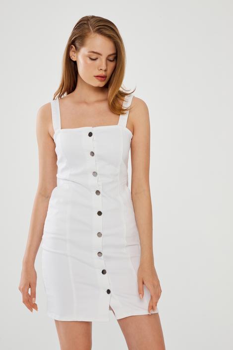 Beyaz Askılı Elbise