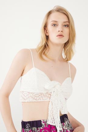 Beyaz Kısa Crop Bluz