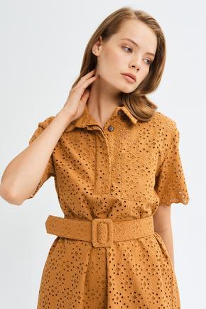 Kahverengi Kısa Kollu Elbise