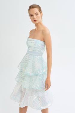 Straplez Payetli Elbise