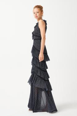 Tül Uzun Volanlı Elbise