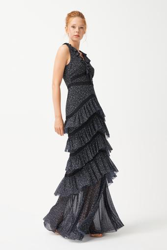 Siyah Tül Uzun Volanlı Elbise