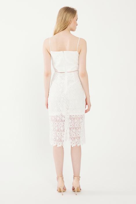 Beyaz Diz Altı Dantel Elbise