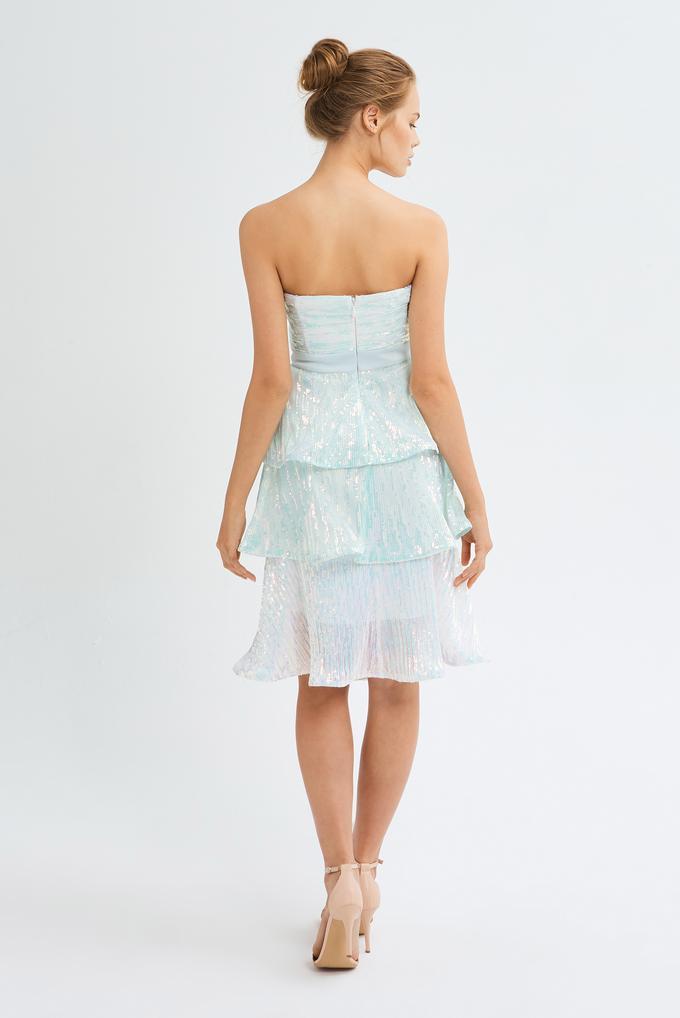 Mavi Straplez Payetli Elbise