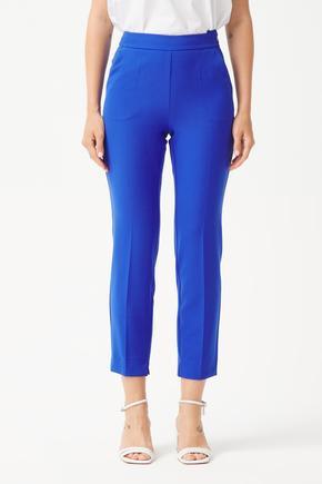 Mavi Yandan Fermuarlı Pantolon