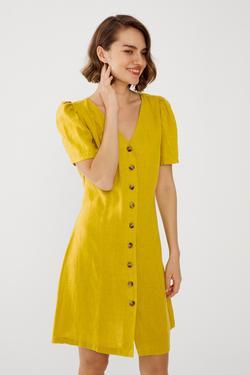Önden Düğmeli Keten Elbise