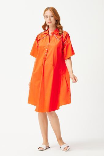 Kırmızı Nakışlı Gömlek Elbise