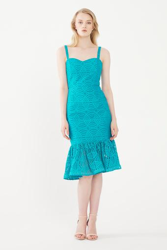 Mavi Etek Ucu Volanlı Elbise