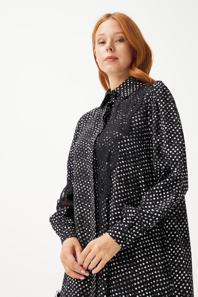 Siyah Dantel Detaylı Gömlek Elbise