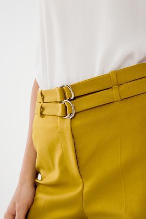 Sarı Çift Kuşaklı Pantolon