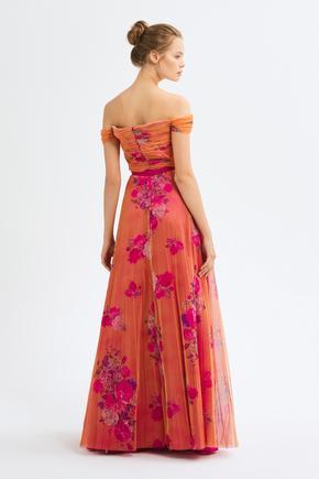 Turuncu Büzgülü Tül Elbise