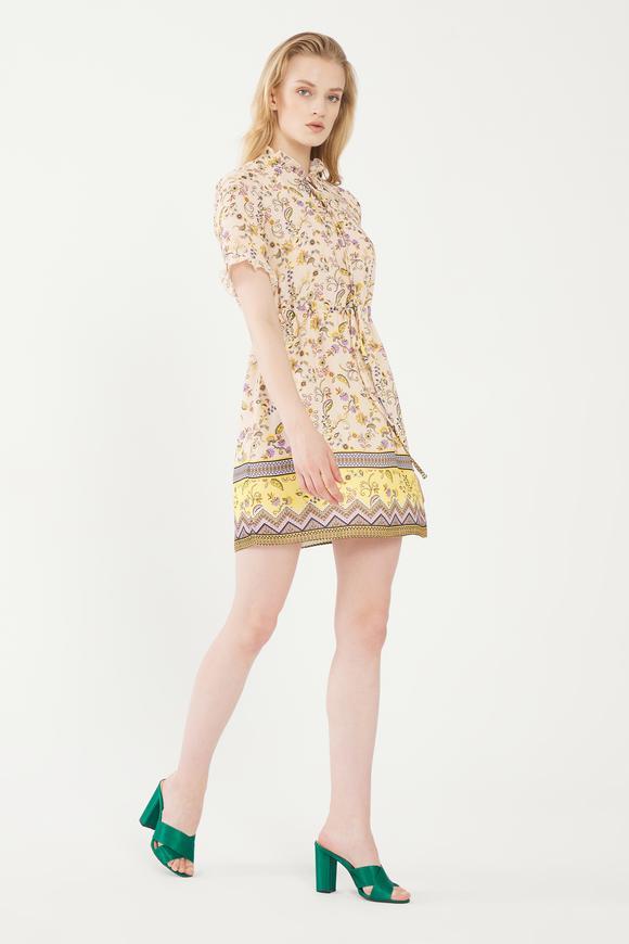 Sarı Fırfırlı Desenli Elbise