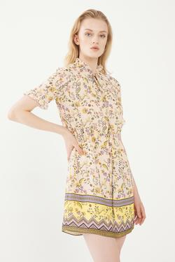Fırfırlı Desenli Elbise
