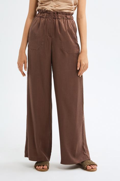 Kahverengi Bol Paça Pantolon