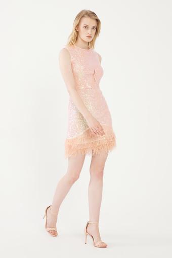 Pembe Eteği Tüylü Mini Elbise
