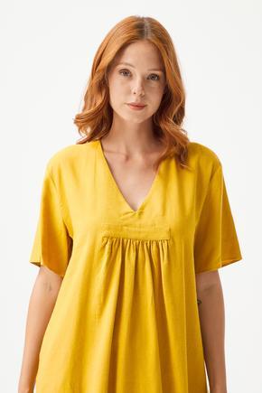 Sarı Kısa Kollu Elbise