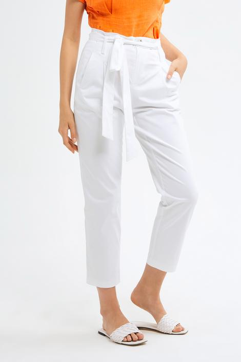 Beyaz Düğmeli Pantolon