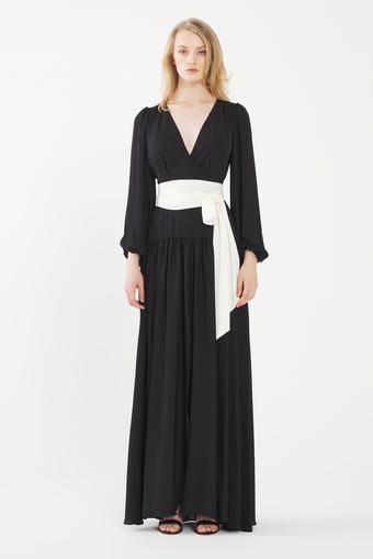 Siyah Uzun Şifon Elbise