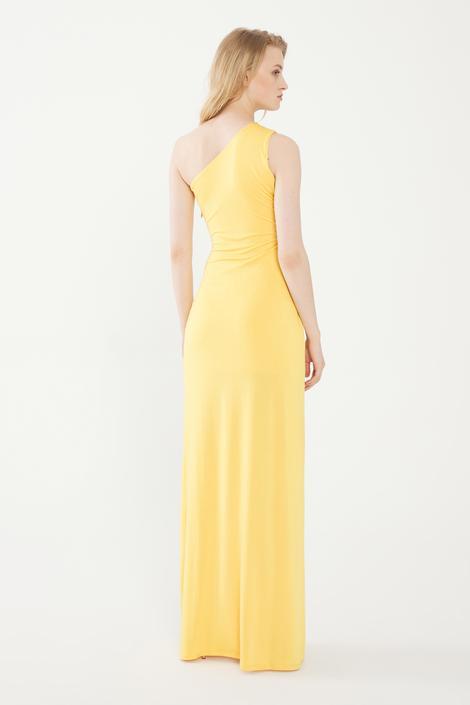 Sarı Tek Omuz Jarse Elbise