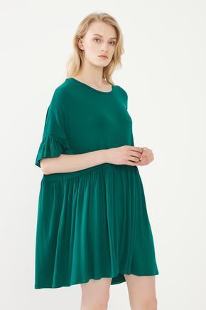 Yeşil Kolları Volanlı Elbise