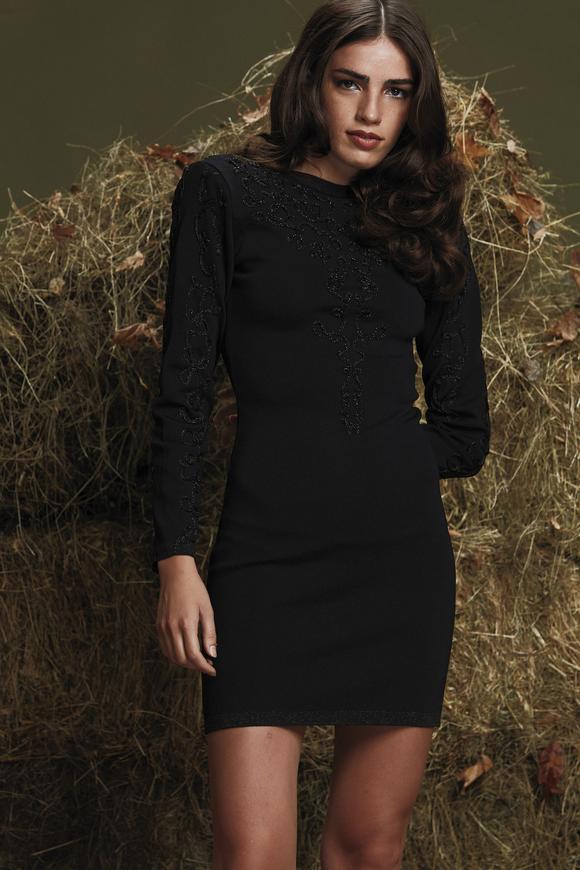Siyah Nakışlı Elbise
