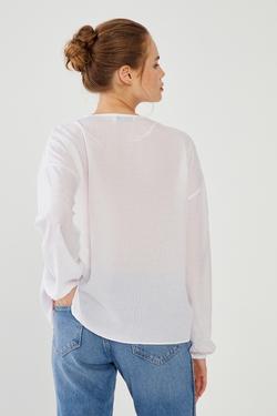Omuzları Dantelli Büzgülü Bluz