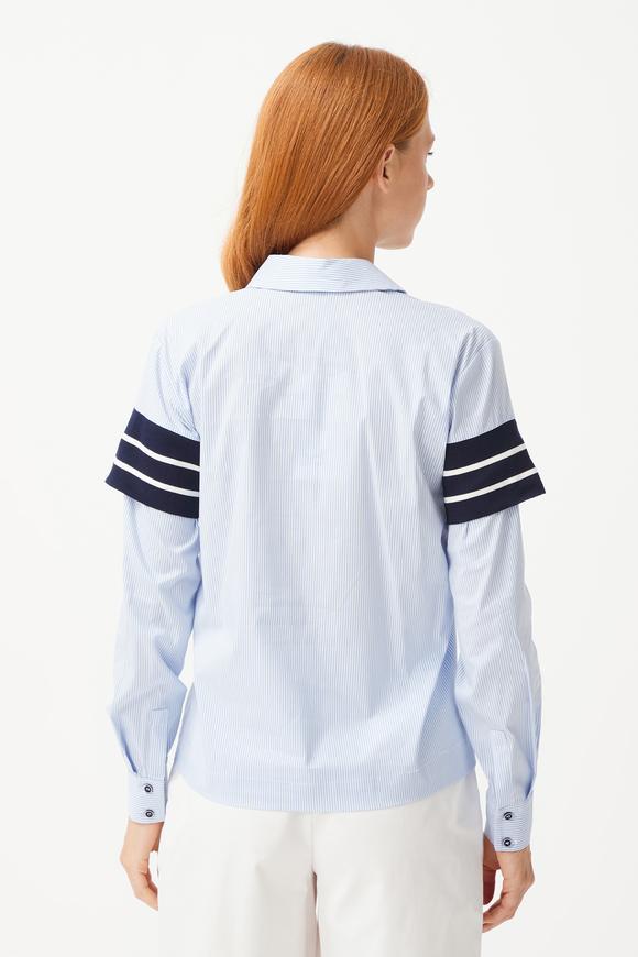 Mavi Ribanalı Bluz