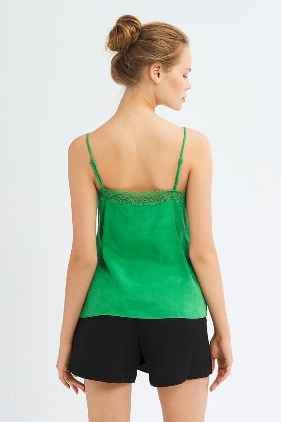 Yeşil Şerit Dantelli Askılı Bluz