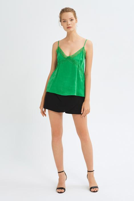 Yeşil Dantel Detaylı Bluz
