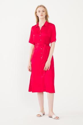 Kırmızı Erkek Yaka Gömlek Elbise