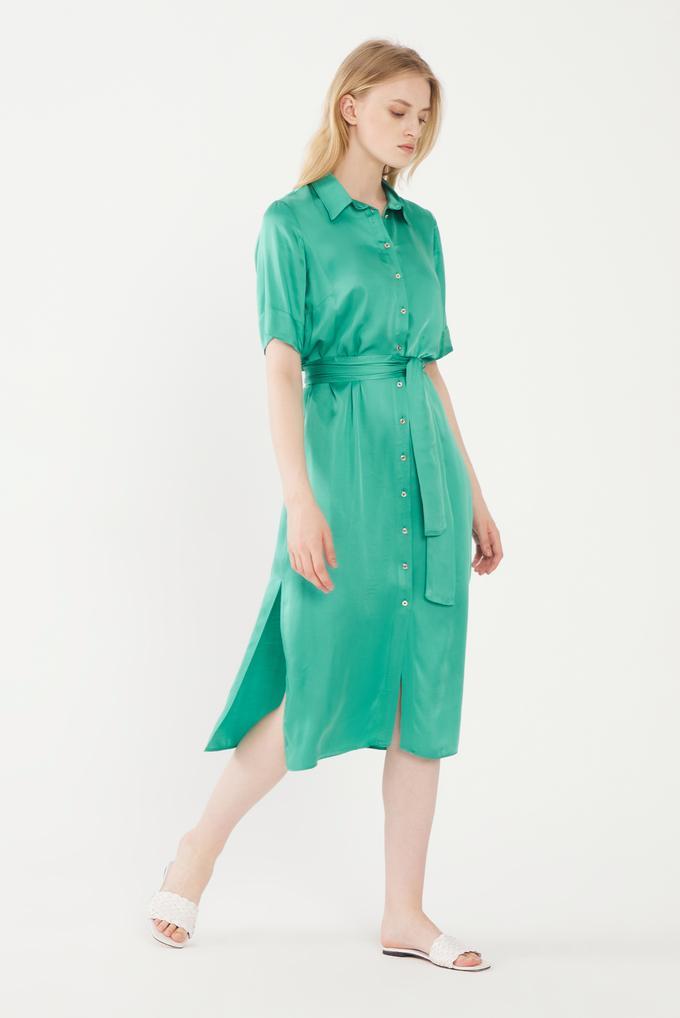 Yeşil Erkek Yaka Gömlek Elbise