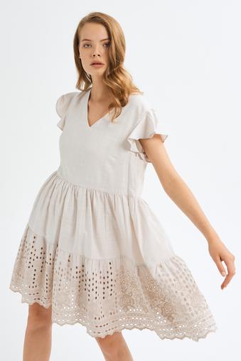 Bej Kolları Fırfırlı Elbise