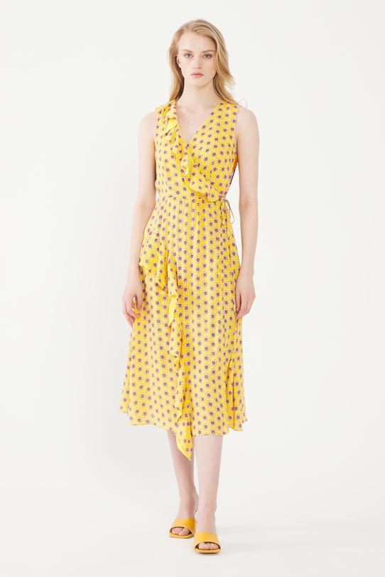 Sarı Kolsuz Kruvaze Elbise