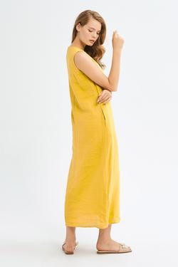 Nakışlı Keten Elbise
