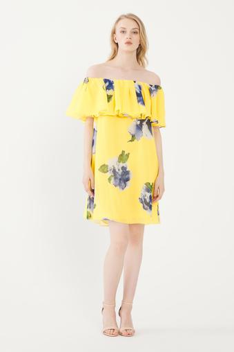 Sarı Volanlı Straplez Elbise