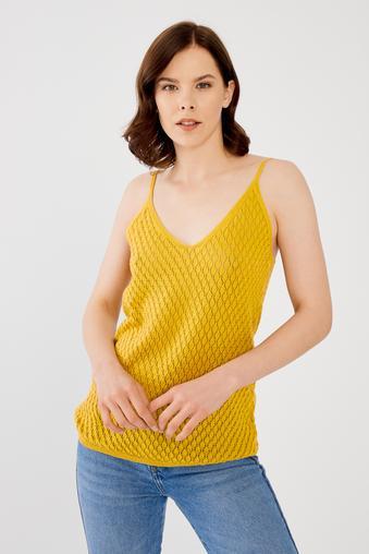 Sarı Askılı Triko