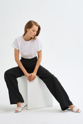 Siyah Geniş Paçalı Pantolon