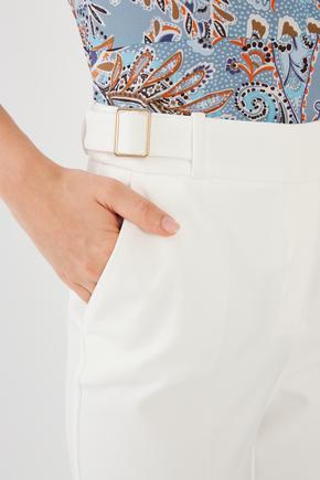 Bej Yanları Tokalı Pantalon