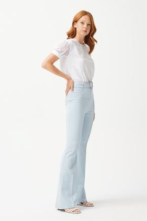 Mavi İspanyol Paça Pantolon