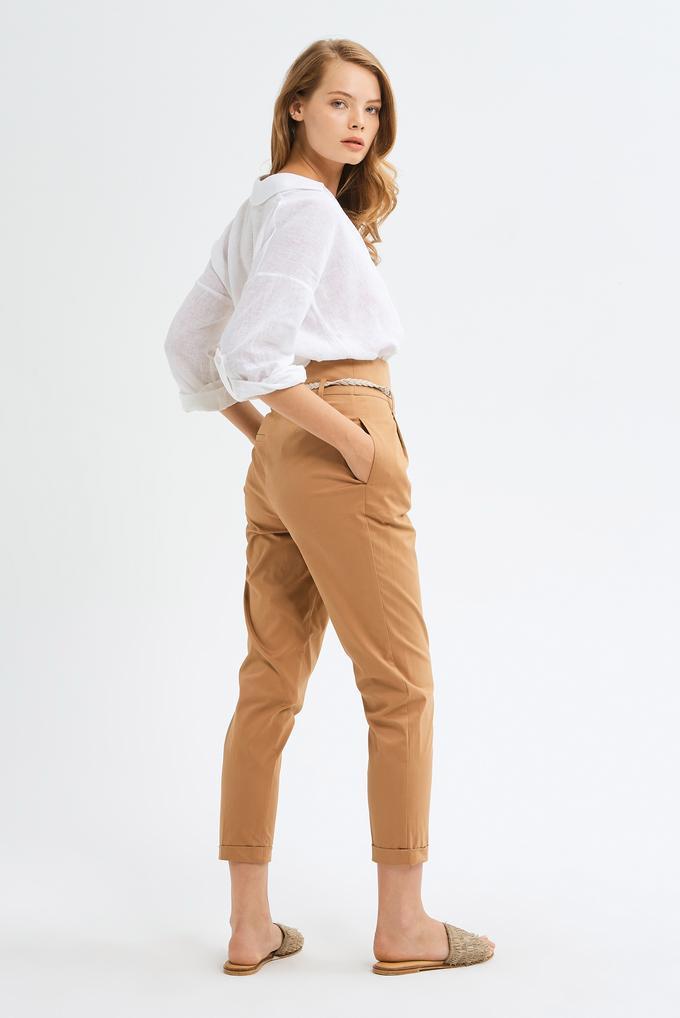 Kahverengi Yüksek Bel Pileli Pantolon
