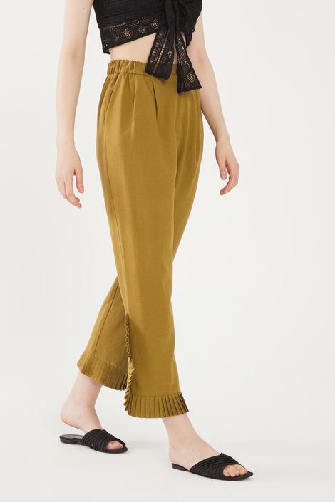 Yeşil Paçası Pilili Pantolon