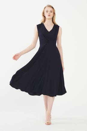 Lacivert Önü Bağlamalı Elbise