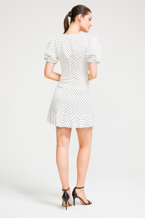 Bej Balon Kol Mini Elbise