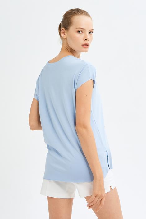 Mavi Kısa Kol Bluz