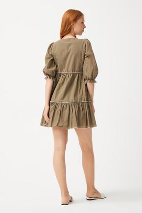 Yeşil Büzgülü Elbise