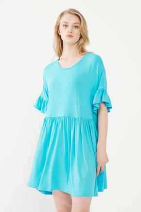 Mavi Kolları Volanlı Elbise