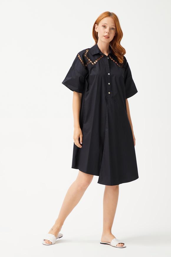 Siyah Nakışlı Gömlek Elbise