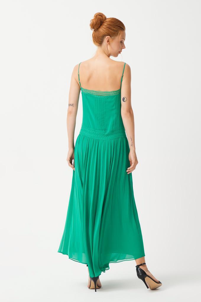 Yeşil Nervür Detaylı Elbise