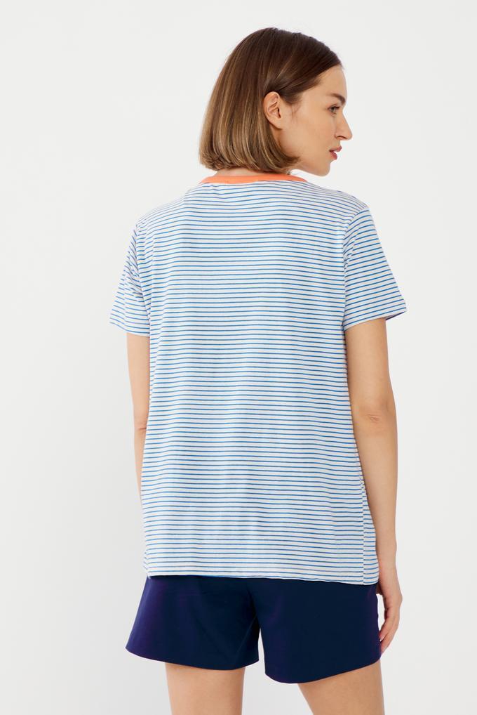 Mavi Nakışlı Tişört
